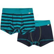 Boxershorts fra Joha - Navy / Petrolium Stripes (2 par)