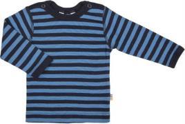 Uld trøje fra Joha - Block Stripe - Marine/Blå
