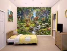 Skovens dyr tapet 243 x 305 cm