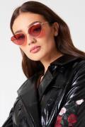 NA-KD Metal Frame Cat Eye Sunglasses - Red