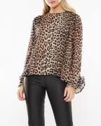 Ganni Top Printed Georgette Leopard