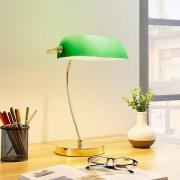 Messingfarvet bordlampe Selea, grøn glasskærm