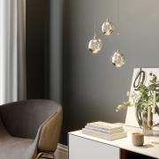 LED-pendellampe Hayley med glaskugler, 3 lys, guld