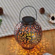 LED-solcellelanterne Adriano, ornamentmønster sølv