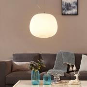 Glas-pendellampe Ginevra, rund, hvid, 38 cm