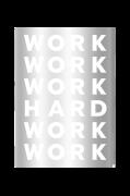 Plakat Work Hard, sølvfarvet 50x70 cm