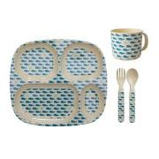 Rice Baby Melamine Dinner Set Whales and Starfish Prints One Size