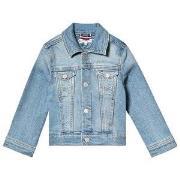 Tommy Hilfiger Light Wash Denim Jacket with Faux Fur Pastel Flag 3 yea...